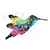 Art grunge pattern with a bird — Stock Vector
