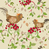 Texture seamless bird branch berry — Vector de stock