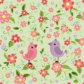 Texture seamless bird and flowers — Stock Vector