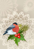Bullfinch Christmas card — Stock Vector