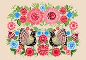 Fairy birds in flowers — Stock Vector