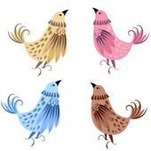 Set Decorative bird — Stock Vector