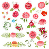 Khokhloma floral set — Stock Vector