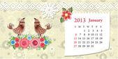 Kalender januar 2013 — Stockvektor