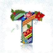 Art Christmas letter handmade — Stock Vector