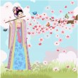 Beautiful Oriental girl near cherry blossoms - Imagens vectoriais em stock