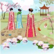 Chinese girls at the pond - Stock Vector