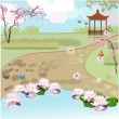 Asian beautiful landscape — Imagen vectorial