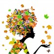 Girl fashion flowers in autumn — Stock Vector #16865925