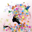 Girl fashion flowers — Imagen vectorial