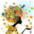 Girl fashion flowers in autumn — Stock Vector