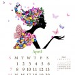 Stock Vector: Fashion girls 2013 calendar year,april