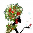 Fashionable girl with Christmas hairstyle for your design — Stok Vektör