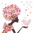 Fashion flowers girl with a heart of butterflies — Stock Vector