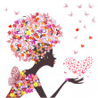 Fashion flowers girl with a heart of butterflies — Image vectorielle
