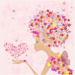 Fashion flowers girl with a heart of butterflies — ストックベクタ