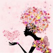 Vector de stock : Fashion flowers girl with a heart of butterflies