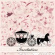 Card design with vintage carriage — Stock Vector #16866115