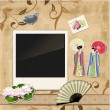 Scrapbooking. Asian girl with vintage patterns for your design — Stock Vector