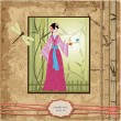 Royalty-Free Stock Vector Image: Scrapbooking. Asian girl with vintage patterns for your design