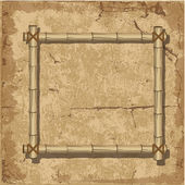 Retro bamboo Frame grunge background — Stock Vector