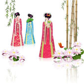 Chinese girls at the pond — Stock Vector