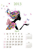 Fashion girls 2013 calendar year,april — Stock Vector