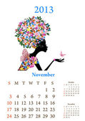 Fashion girls 2013 calendar year, november — Stock Vector