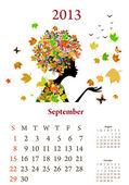 девушки моды 2013 календарный год, сентябрь — Cтоковый вектор
