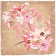 Vintage background with lilies — Stock Vector