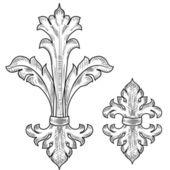 バロック様式のデザイン要素 — ストックベクタ