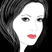Sketch of a beautiful woman — Stock Vector