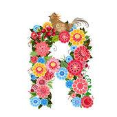 Carta floral para as aves no estilo khokhloma — Vetor de Stock