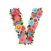 Kwiatowy list do ptaków w kwiecisty styl — Wektor stockowy