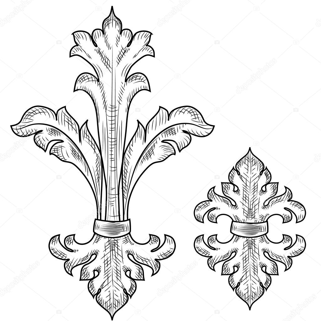 Detailed swirls coloring pages for Baroque design elements