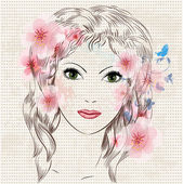 Face of a beautiful fashion girl in flowers — Stock Vector