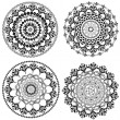 Set of vintage round arabesques - Stock Vector