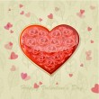 Valentine's card with a heart of roses — Stock Vector