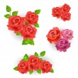 Set of red roses bouquet - Stock Vector