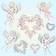 Stock Vector: Vintage Angels with arrows for your design