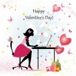 Card design girl with Valentine's Day — Stock Vector