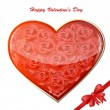 Valentine's card with a heart of roses — Vector de stock