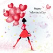Card design girl with Valentine's Day — Imagen vectorial