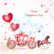 Vector de stock : Girl in a carriage with valentines
