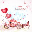 Girl in a carriage with valentines — Vector de stock