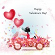 Girl in a car with valentines - Stock Vector