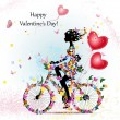 Woman on bicycle with valentines — 图库矢量图片