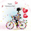Woman on bicycle with valentines — Imagen vectorial