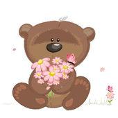 Cute bear with flowers — Stock Vector