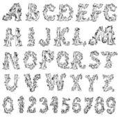 Foliage vintage alphabet — Stock Vector
